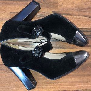 Marc Jacob grey leather and black shoes.  8.5 size